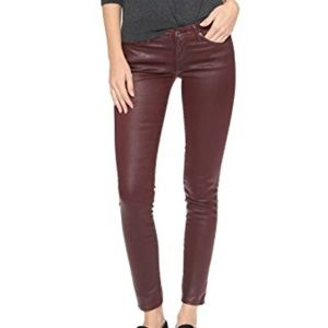 AG Leatherette Coated Ankle Skinny Jeans Wine 26